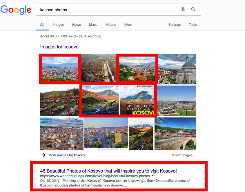Image of a google search for photos, including showing featured Google image results.
