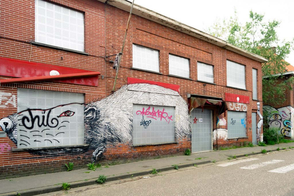 The famous street art of Doel, Belgium on an abandoned building by Belgian street artist Roa. Read what it's like to visit Doel, an abandoned town near Antwerpen. #streetart #doel #belgium #abandonedplaces #travel