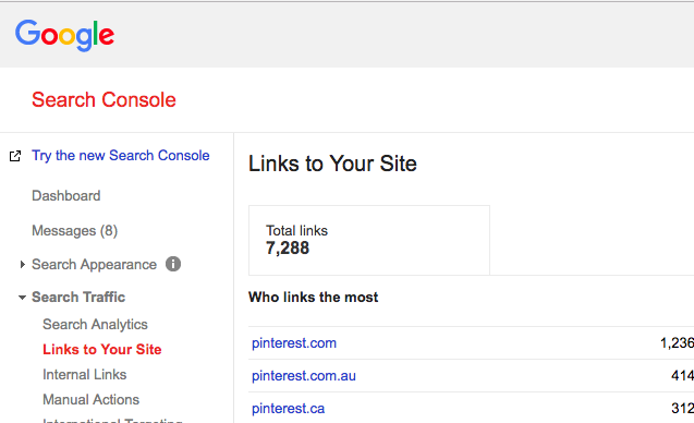 Screenshot of Google Search Console, where you can find where people link to you.
