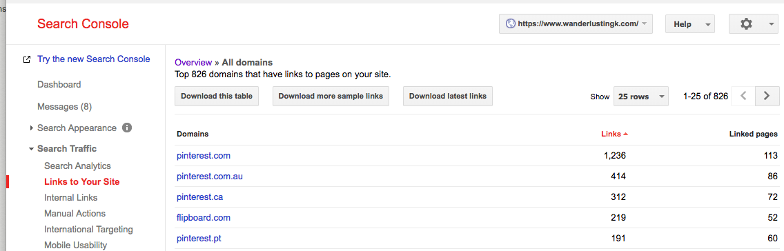 Screen shot on how to find links that you need to disavow in Google Search Console
