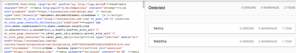 Screenshot of structured data with a not-optimized theme for SEO.  Read if your theme is hurting your SEO!