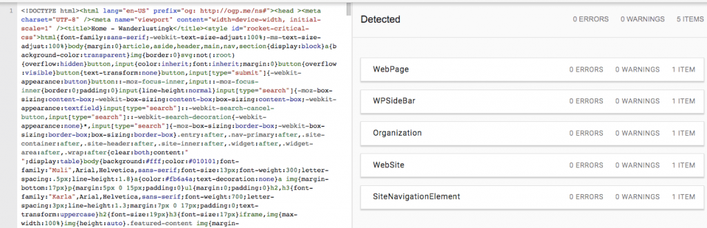Screenshot of structured data behind a SEO-friendly theme