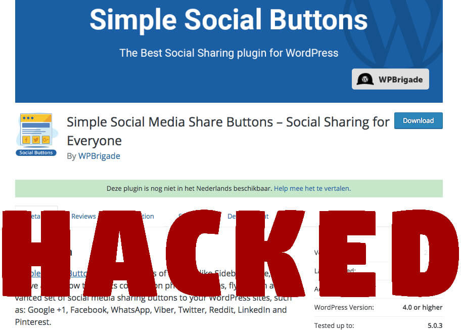 Avoid getting hacked if you have Simple Social Buttons