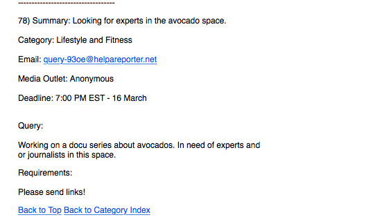 HARO inquiry about avocados